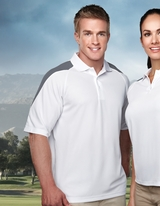 100 Poly Waffle Knit Moisture Wicking Polo With Shoulder Accents Main Image