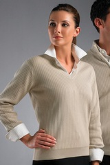 Greg Norman Women's V-neck Drop-needle Cotton Sweater Main Image