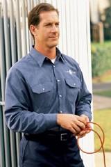 Long Sleeve Heathered Poplin Work Shirt Main Image