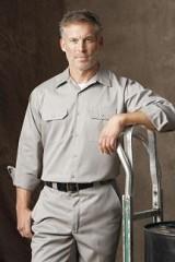 Long Sleeve Utility Work Shirt With Pockets Main Image