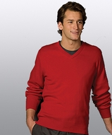 Men's 100 Cotton Cashmere V-neck Sweater Main Image