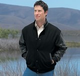 Men's Melton Wool And Leather Jacket With Stand Collar Main Image