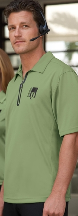 Men's Recycled Polyester/ Performance Polyester Zipped Polo Main Image