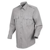Men's Stretch Poplin Uniform Long Sleeve Shirt Grey With Navy Epaulets And Pocket Flaps Main Image