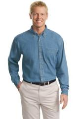 Tall Long Sleeve Denim Shirt Main Image