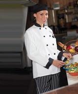 Ten Black Button Chef Coat Main Image