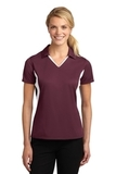 Women's Side Blocked Micropique Polo Shirt Maroon with White Thumbnail