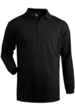 Unisex Long Sleeve All Cotton Pique Polo Black Thumbnail