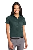 Women's Short Sleeve Easy Care Shirt Dark Green with Navy Thumbnail