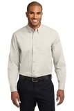 Long Sleeve Easy Care Shirt Light Stone with Classic Navy Thumbnail