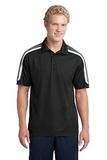 Micropique Shoulder Block Polo Black with Iron Grey and White Thumbnail