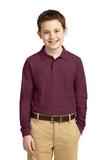 Youth Silk Touch Long Sleeve Sport Shirt Burgundy Thumbnail