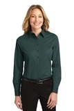Women's Long Sleeve Easy Care Shirt Dark Green with Navy Thumbnail