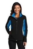 Women's Corevalue Colorblock Soft Shell Jacket Black with Imperial Blue Thumbnail