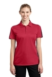 Women's Active Textured Colorblock Polo True Red with Grey Thumbnail