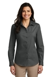 Women's Long Sleeve Carefree Poplin Shirt Graphite Thumbnail