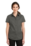 Women's Short Sleeve SuperPro Twill Shirt Sterling Grey Thumbnail