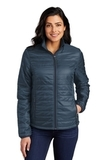 Ladies Packable Puffy Jacket Regatta Blue with River Blue Thumbnail