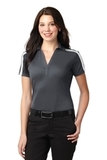 Women's Port Authority Silk Touch Performance Colorblock Stripe Polo Steel Grey with White Thumbnail