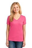 Women's 5.4-oz 100 Cotton V-neck T-shirt Neon Pink Thumbnail