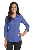 Women's Red House 3/4-Sleeve Nailhead Non-Iron Shirt Mediterranean Blue Thumbnail