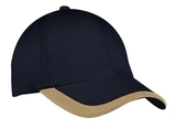 Contrast Stripe Sandwich Bill Cap Navy with Khaki Thumbnail
