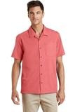 Textured Camp Shirt Deep Coral Thumbnail