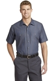 Short Sleeve Striped Industrial Work Shirt Grey with Blue Thumbnail