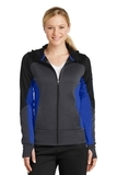 Women's Tech Fleece Colorblock FullZip Hooded Jacket Black with Graphite Heather and True Royal Thumbnail