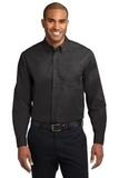 Long Sleeve Easy Care Shirt Black with Light Stone Thumbnail