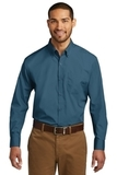 Port Authority Long Sleeve Carefree Poplin Shirt Dusty Blue Thumbnail
