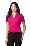 Women's Port Authority Silk Touch Performance Colorblock Stripe Polo Pink Raspberry with Steel Grey Thumbnail