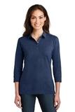 Women's 3/4Sleeve Meridian Cotton Blend Polo Estate Blue Thumbnail
