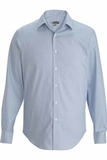 Men's No-iron Stay Collar Dress Shirt Blue with White Stripe Thumbnail