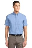 Tall Short Sleeve Easy Care Shirt Light Blue with Light Stone Thumbnail