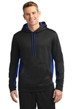 Sport-wick Fleece Colorblock Hooded Pullover Black with True Royal Thumbnail