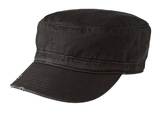 Distressed Military Hat Black Thumbnail