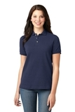 Women's Pique Knit Polo Shirt Navy Thumbnail