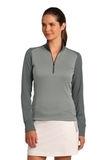 Women's Nike Golf Dri-Fit 1/2-Zip Cover-Up Athletic Grey Heather with Dark Grey Thumbnail
