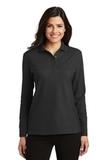 Women's Silk Touch Long Sleeve Polo Shirt Black Thumbnail