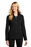 Ladies Grid Fleece Jacket Deep Black Thumbnail