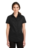 Women's Short Sleeve SuperPro Twill Shirt Black Thumbnail
