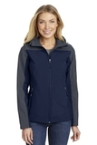 Women's Hooded Core Soft Shell Jacket Dress Blue Navy with Battleship Grey Thumbnail