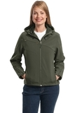 Women's Textured Hooded Soft Shell Jacket Mineral Green with Soft Orange Thumbnail