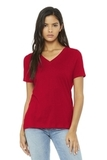 BELLA+CANVAS Women's Relaxed Jersey Short Sleeve V-Neck Tee Red Thumbnail