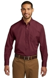 Port Authority Long Sleeve Carefree Poplin Shirt Burgundy Thumbnail