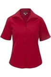 Women's Easy Care Poplin Shirt SS Red Thumbnail