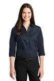 Women's 3/4Sleeve Carefree Poplin Shirt River Blue Navy Thumbnail