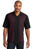 Retro Camp Shirt Black with Burgundy Thumbnail
