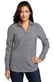Ladies City Stretch Tunic Graphite with White Thumbnail